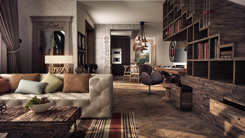美式新古典木质感书房装修效果图