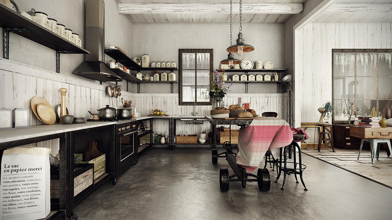 美式复古厨房装修效果图