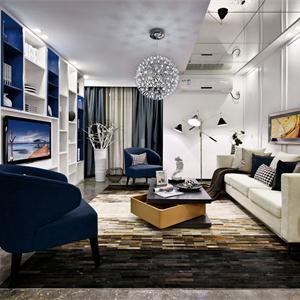 蓝调情怀的电视背景墙储物柜设计