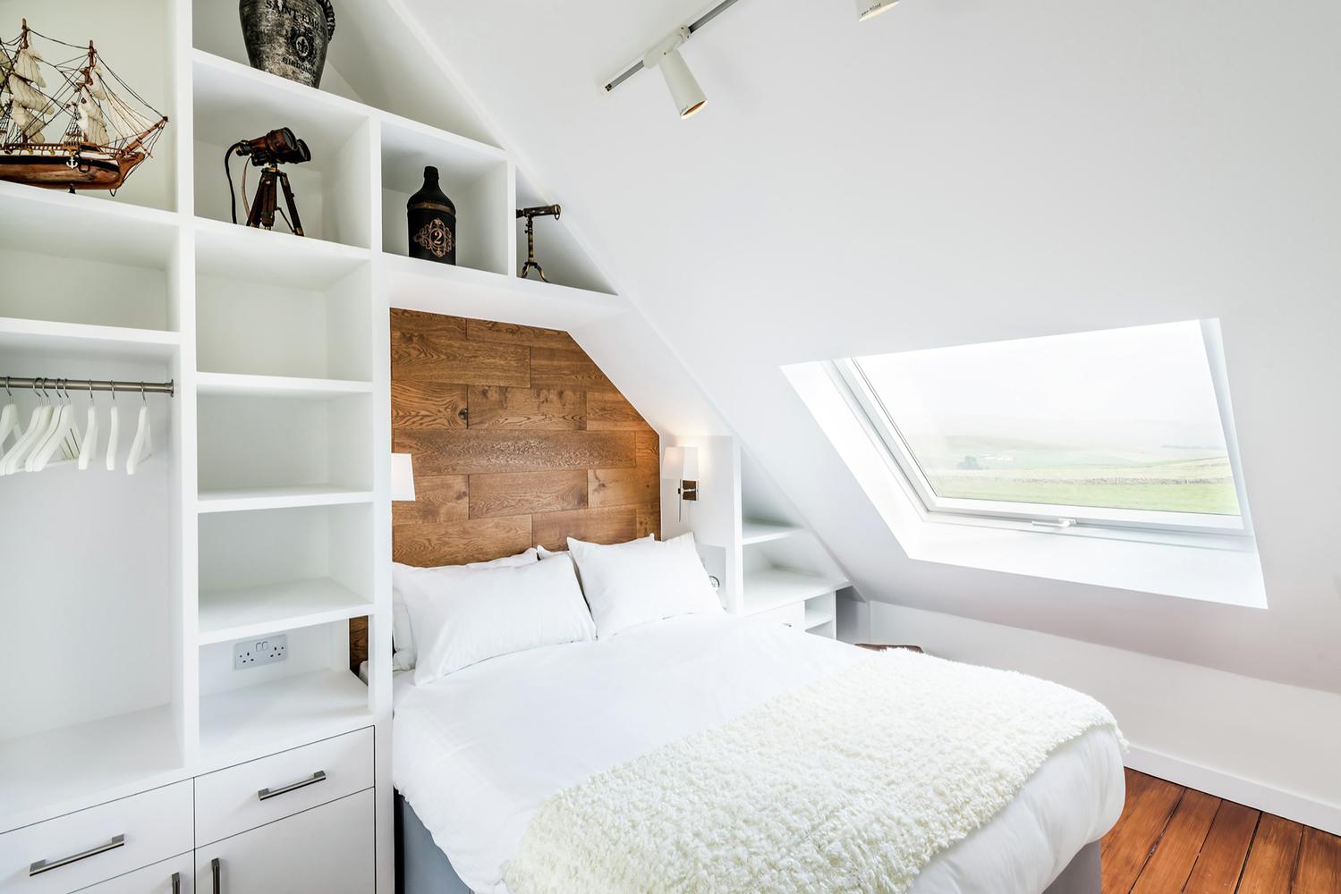 白色色调卧室窗户