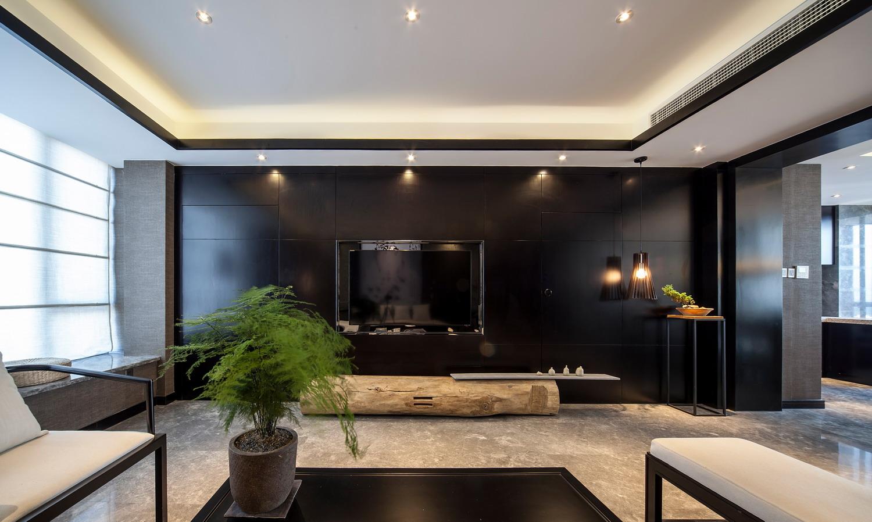 中式客厅高级黑电视背景墙