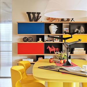 富有朝氣的時尚簡約彩色書柜