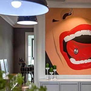 時尚的色彩客廳壁畫