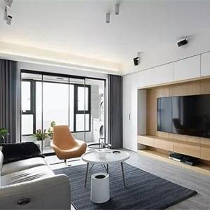 蘇州建屋海德公園117㎡極簡風格裝修 電視墻打了一圈柜子