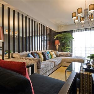 中式風格三居室客廳裝修效果圖