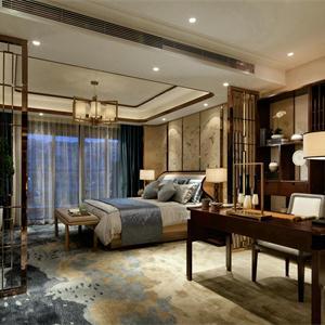 中式风格设计书房和卧室装修效果图
