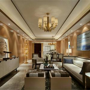 145平现代中式风格客厅装修效果图