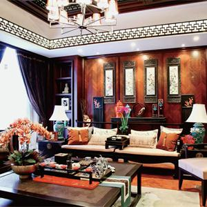 三居室中式風格客廳裝修效果圖