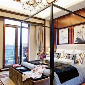 中式風格三居臥室裝修效果圖