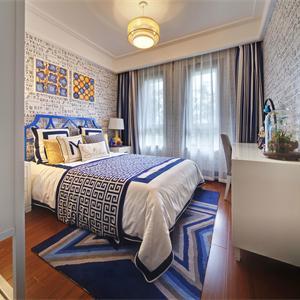 中式混搭风格三居卧室装修布置图