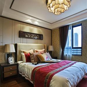 现代中式风格三居卧室装修效果图