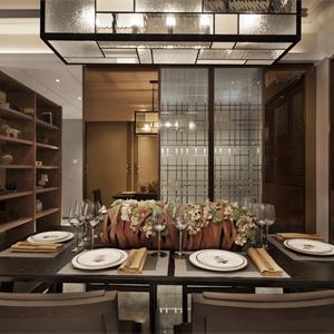 中式風格三居室餐廳裝修效果圖