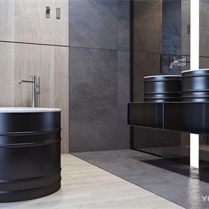 高级黑极简风格卫生间装修效果图