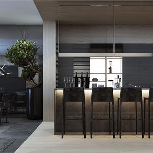 黑白現代簡約餐廳裝修效果圖