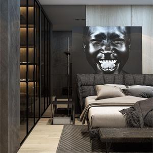 黑白現代簡約臥室裝修效果圖