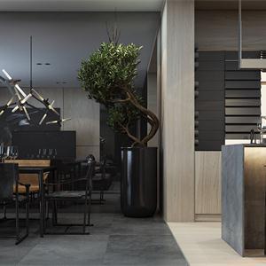現代簡約樣板間餐廳裝修效果圖