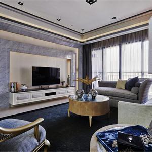 白塘壹号三居室混搭风格客厅装修效果图
