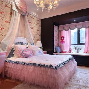 欧式田园粉色女孩儿童房装修效果图