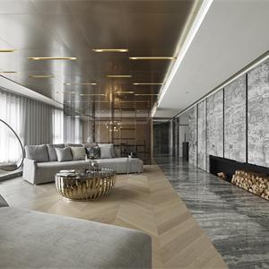 黑白灰現代簡約客廳裝修效果圖