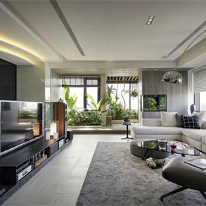 大户型现代简约客厅装修效果图