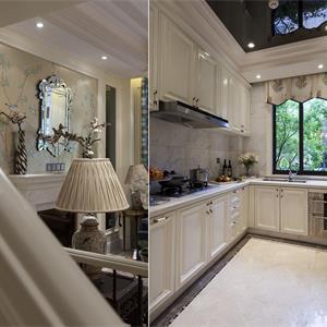 实木复古欧式厨房橱柜效果图