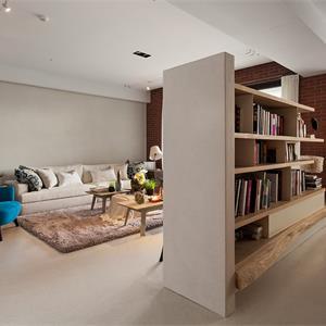 现代简约风格客厅隔断书柜装修设计图