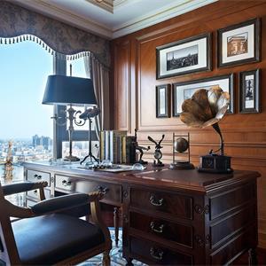 棕色调美式风格书房装修效果图
