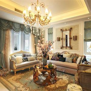 现代欧式三居室装修客厅设计图
