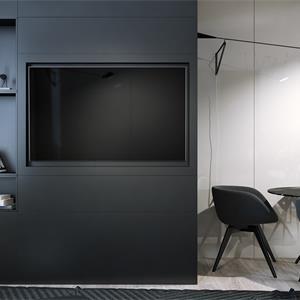 现代黑白简约风客厅装饰效果图