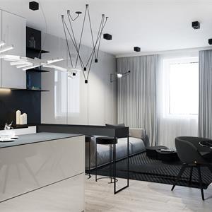 黑白现代简约风厨房装修效果图