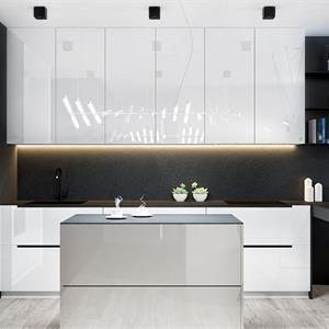 现代简约风开放式厨房装饰效果图