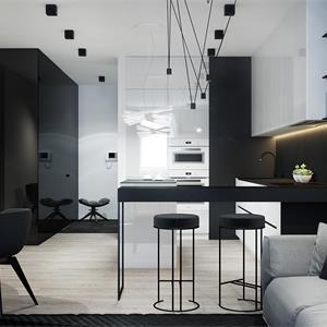 黑白现代简约装修餐厅布置图