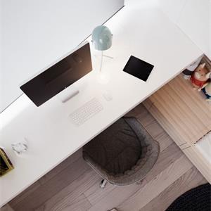 宜家风简约三室一厅卧室书桌装修效果图