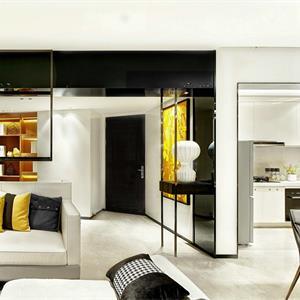 现代简约黑白三居客厅装修效果图