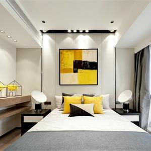 现代简约三居室亮黄色装修效果图
