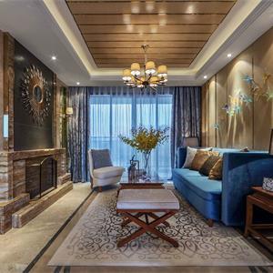 145平美式风格客厅装修效果图