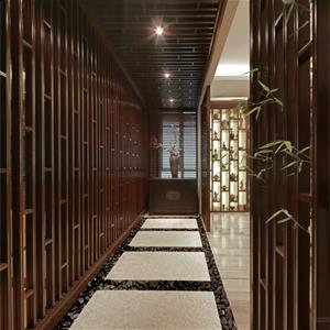 现代中式风格客厅走廊装修效果图
