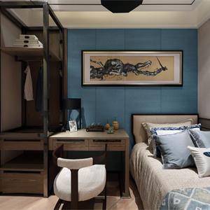 中式风格三居次卧卧室装修效果图