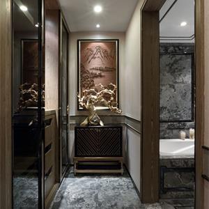 130㎡中式风格装修卫生间走廊效果图