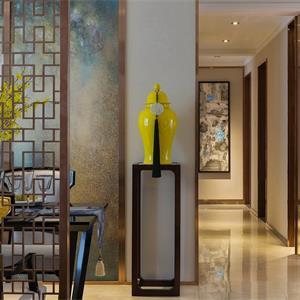 110㎡中式风格客厅走廊装修效果图