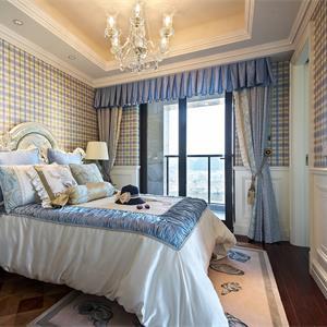 蓝色调调欧式风卧室装修效果图