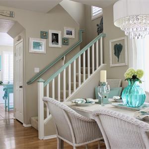 藍色調小戶型復式北歐風格客廳裝修效果圖