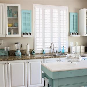 蓝色调小户型复式北欧风格厨房装修效果图